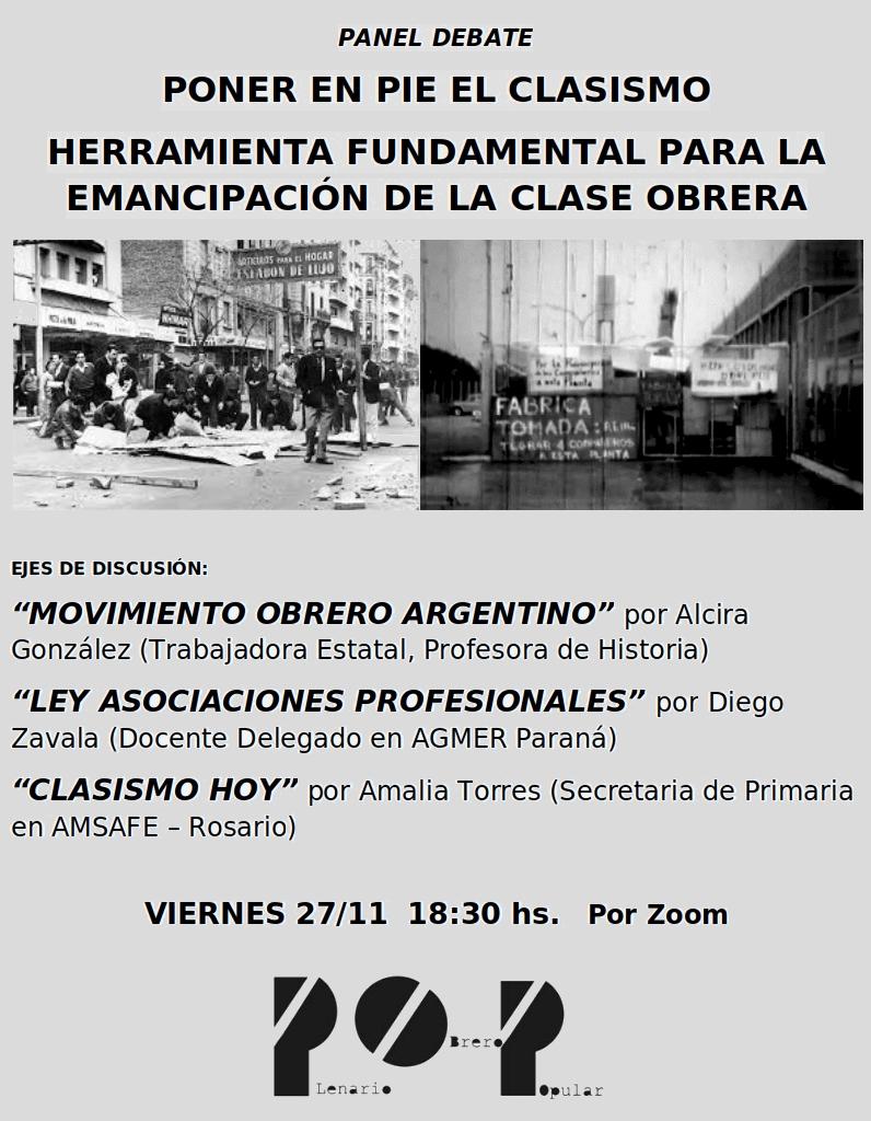 PONER EN PIE EL CLASISMO,  HERRAMIENTA FUNDAMENTAL PARA LA EMANCIPACIÓN DE LA CLASE OBRERA