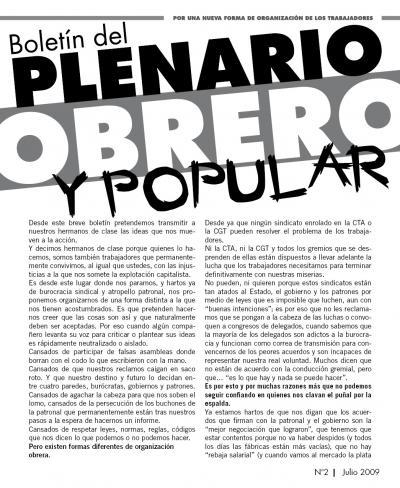 Boletín del PLENARIO OBRERO Y POPULAR - Nro 2