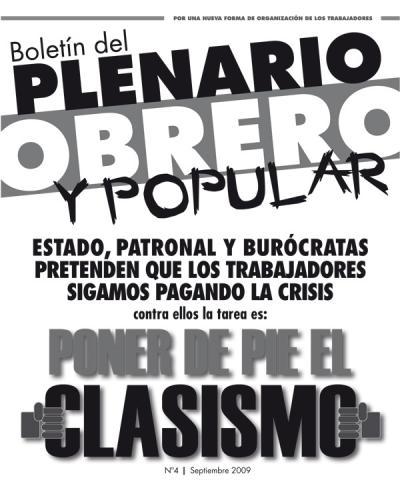 Boletín del PLENARIO OBRERO Y POPULAR - Nro 4