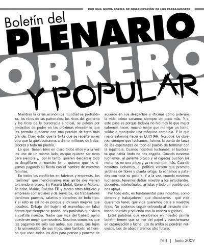 Boletín del PLENARIO OBRERO Y POPULAR - Nro 1